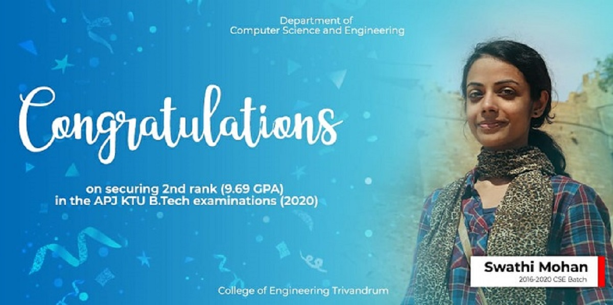 Congratulations on securing 2nd Rank(9.69 GPA) in the APJ KTU B.Tech Examination (2020)