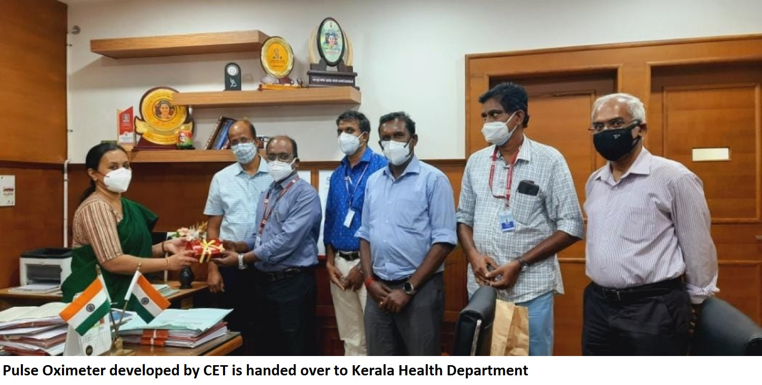 Pulse Oximeter developed by CET is handed over to Kerala Health Department